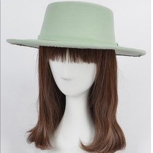 New mint green flappy fedora hat